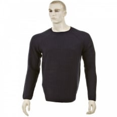 Dark Navy Crew Neck Raglan Sleeve Regular Fit Knitted Jumper