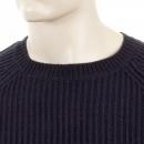 THUG OR ANGEL Dark Navy Crew Neck Raglan Sleeve Regular Fit Knitted Jumper
