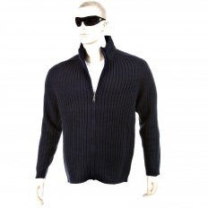 Dark Navy Ribbed Zip up Regular Fit High Neck Cardigan