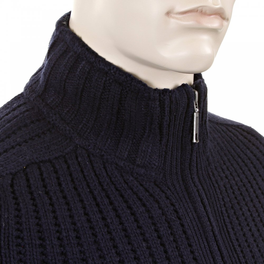 High Neck Navy Blue Cardigans For Men By Thug Angel