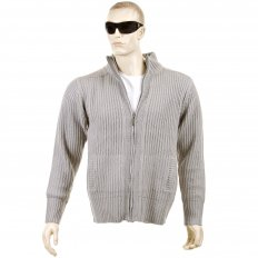 Grey Long Sleeve Regular Fit Full Zipped Cardigan with Applique Shoulder Patch
