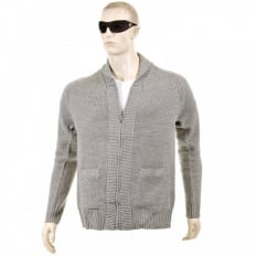 Grey Marl Shawl Collar Long Sleeve Zip Up Knitted Cardigan