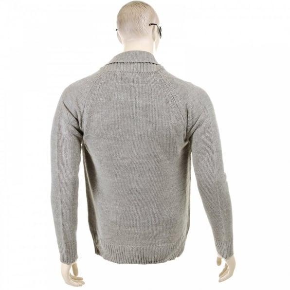 THUG OR ANGEL Grey Marl Shawl Collar Long Sleeve Zip Up Knitted Cardigan