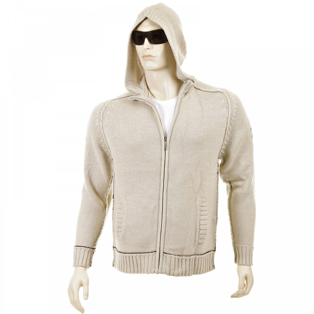 Beige Knitted Hooded Cardigans for Men by Thug Angel