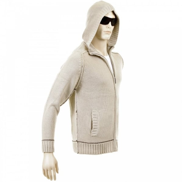 THUG OR ANGEL Knitted Beige Long Sleeve Regular Fit Zip-Up Hooded Cardigan with Chocolate Trim