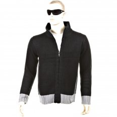 Knitted Black Long Sleeve Regular Fit Zip Up Cardigan with Grey Trim