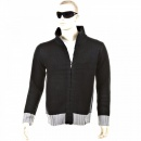 THUG OR ANGEL Knitted Black Long Sleeve Regular Fit Zip Up Cardigan with Grey Trim