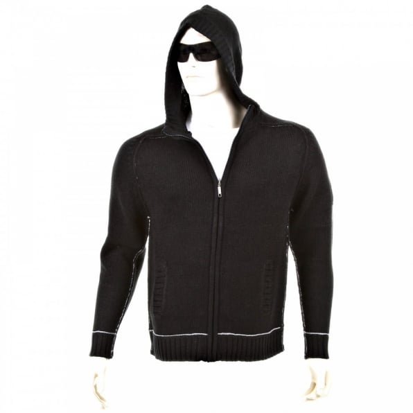 THUG OR ANGEL Knitted Black Long Sleeve Regular Fit Zip-Up Hooded Cardigan with Grey Trim