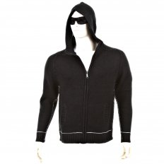 Knitted Black Long Sleeve Regular Fit Zip-Up Hooded Cardigan with Grey Trim