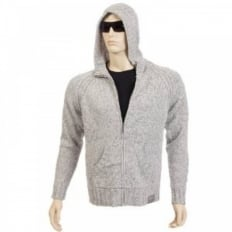 Knitted Grey Marl/Tweed Hooded Zip Up Regular Fit Cardigan