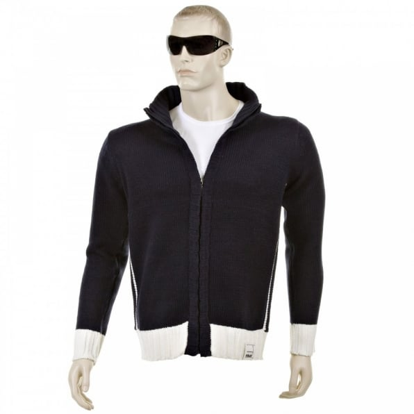 THUG OR ANGEL Knitted Navy Long Sleeve Regular Fit Zip up Cardigan with Ecru Trim