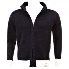 Knitted Navy Long Sleeve Regular Fit Zip up Cardigan with Ecru Trim