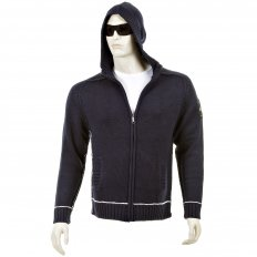 Knitted Navy Long Sleeve Regular Fit Zip-Up Hooded Cardigan with White Trim