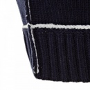 THUG OR ANGEL Knitted Navy Long Sleeve Regular Fit Zip-Up Hooded Cardigan with White Trim