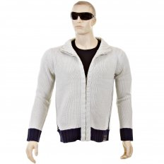 Knitted Putty Long Sleeve Regular Fit Zip Up Cardigan with Navy Trim