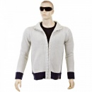 THUG OR ANGEL Knitted Putty Long Sleeve Regular Fit Zip Up Cardigan with Navy Trim