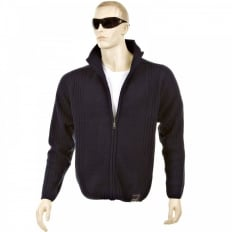Navy Full Zip Regular Fit Long Sleeve Knitted Cardigan