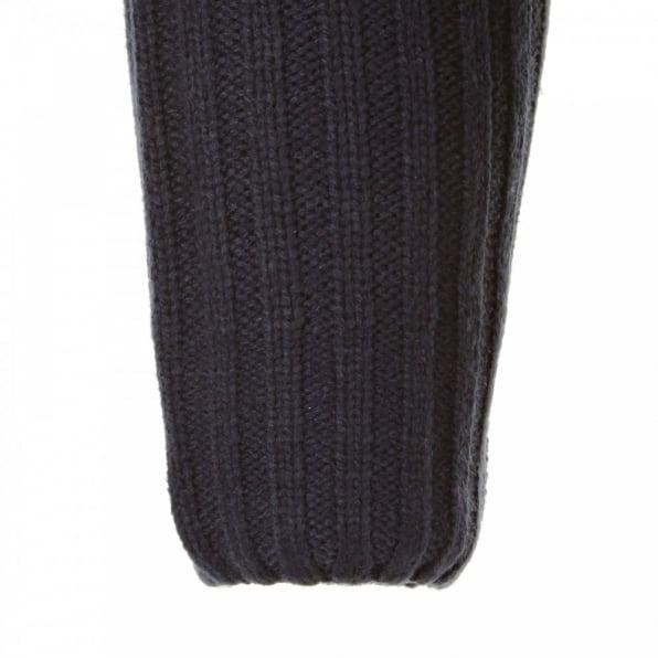 THUG OR ANGEL Navy Full Zip Regular Fit Long Sleeve Knitted Cardigan