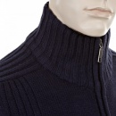 THUG OR ANGEL Navy Full Zip Regular Fit Long Sleeve Knitted Cardigan