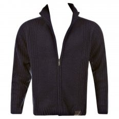 Navy Full Zip Regular Fit Long Sleeve Knitted Cardigan