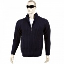THUG OR ANGEL Navy Long Sleeve Regular Fit Full Zipped Cardigan with Applique Shoulder Patch