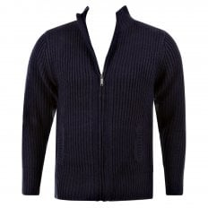 Navy Long Sleeve Regular Fit Full Zipped Cardigan with Applique Shoulder Patch
