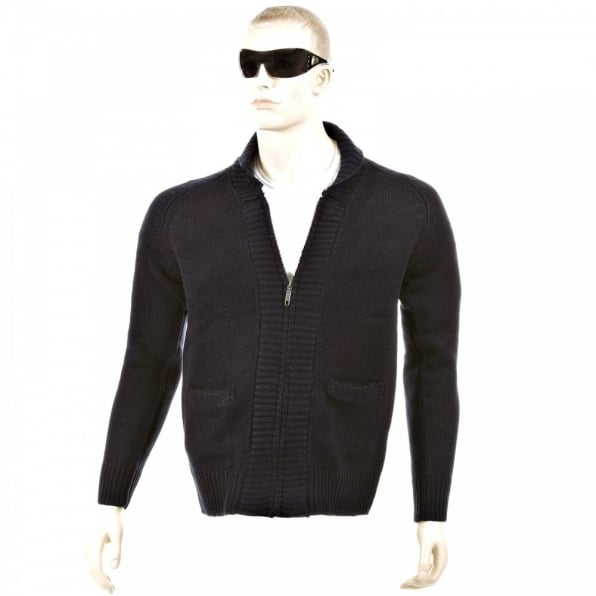 THUG OR ANGEL Navy Shawl Collar Long Sleeve Regular Fit Zip up Knitted Cardigan