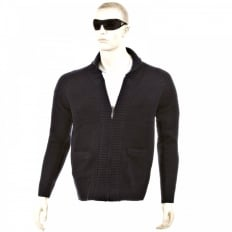Navy Shawl Collar Long Sleeve Regular Fit Zip up Knitted Cardigan