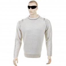 Putty Crew Neck Long Sleeve Regular Fit Knitted Jumper with Dark Navy Trim