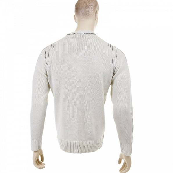 THUG OR ANGEL Putty Crew Neck Long Sleeve Regular Fit Knitted Jumper with Dark Navy Trim