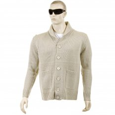 Regular Fit Beige Button up Shawl Collar Knitted Cardigan