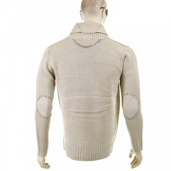 THUG OR ANGEL Regular Fit Beige Button up Shawl Collar Knitted Cardigan