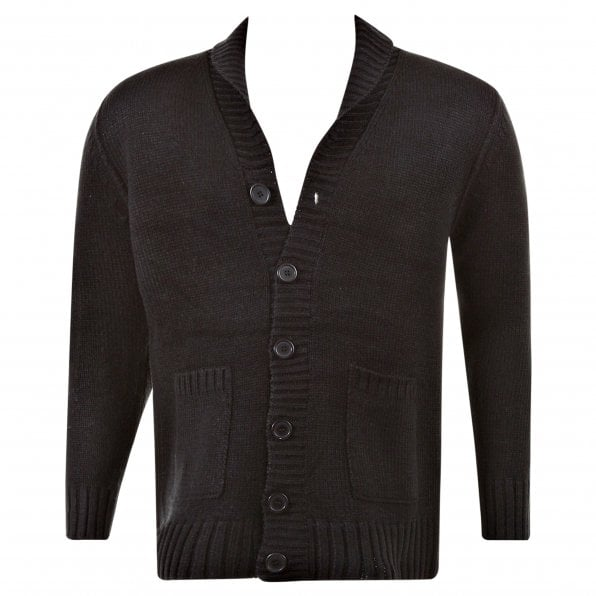 THUG OR ANGEL Regular Fit Black Button up Shawl Collar Knitted Cardigan