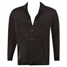 Regular Fit Black Button up Shawl Collar Knitted Cardigan