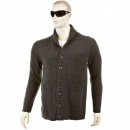 THUG OR ANGEL Regular Fit Charcoal Button up Shawl Collar Knitted Cardigan