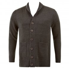 Regular Fit Charcoal Button up Shawl Collar Knitted Cardigan
