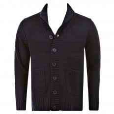 Regular Fit Navy Button up Shawl Collar Knitted Cardigan