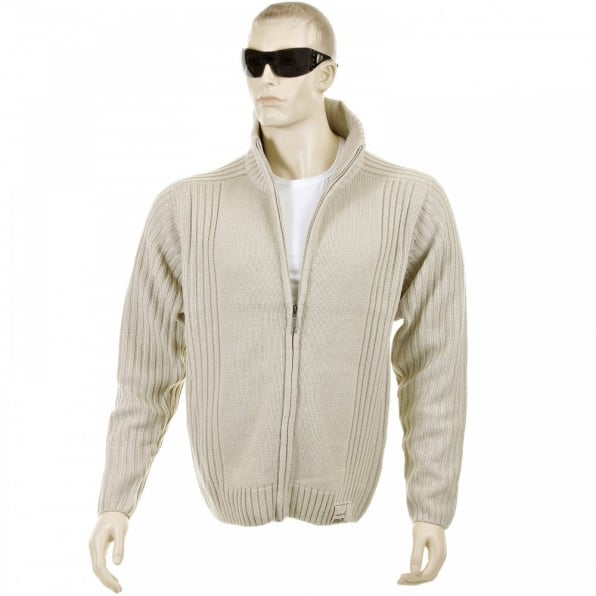 THUG OR ANGEL Stone Full Zip Regular Fit Long Sleeve Knitted Cardigan