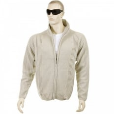 Stone Full Zip Regular Fit Long Sleeve Knitted Cardigan