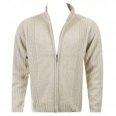 Stone Full Zip Regular Fit Long Sleeve Knitted Cardigan