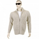 THUG OR ANGEL Stone Long Sleeve Regular Fit Full Zipped Cardigan with Applique Shoulder Patch