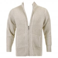Stone Long Sleeve Regular Fit Full Zipped Cardigan with Applique Shoulder Patch