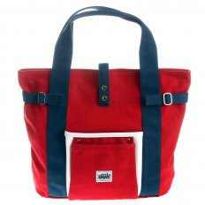 Unisex Red Canvas with Navy Canvas Handles and Trim Hand Carry Bag