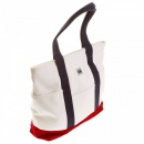 RMC MKWS Unisex White Canvas with Red Canvas Base and Navy Canvas Handles Shopper Bag