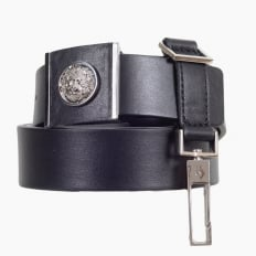 Black Leather Belt with a Silver Nickel Lion Head on A Square Buckle