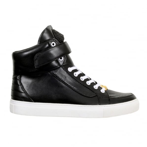 65c889f318455 VERSACE JEANS Black Leather Hi Top Sneakers for Men with White Laces and
