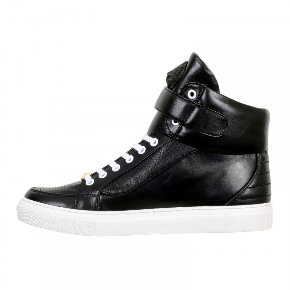 ... VERSACE Black Leather Hi Top Sneakers for Men with White Laces and Sole  ...