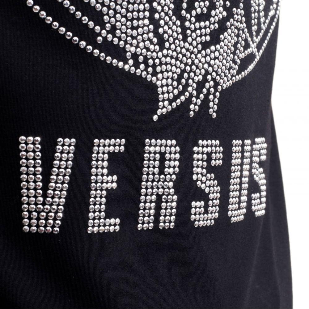 Black t shirt designs - Black T Shirt With White Design Versace Black Regular Fit Crew Neck Short Sleeved Mens