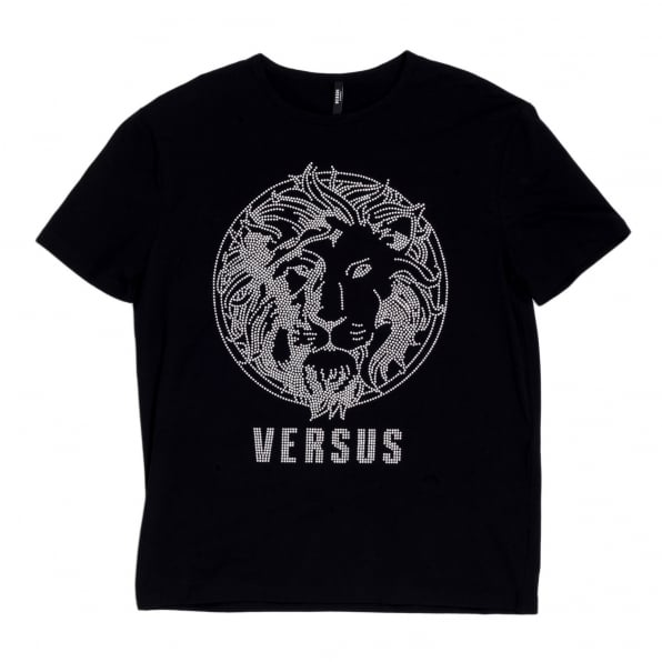 VERSACE Black Regular Fit Crew Neck Short Sleeved Mens T Shirt with Silver Rhinestone Lion Head Design
