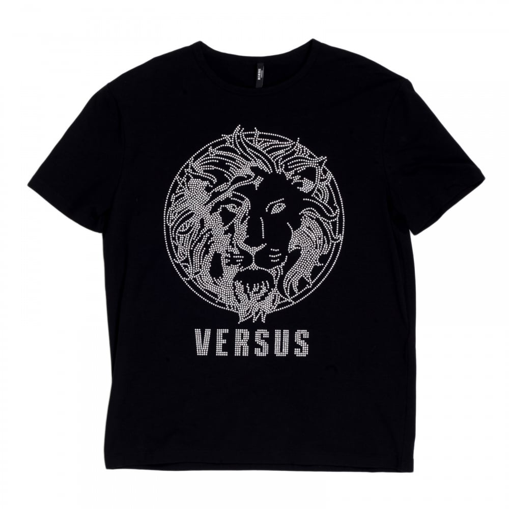 Black t shirt with design -  Versace Black Regular Fit Crew Neck Short Sleeved Mens T Shirt With Silver Rhinestone Lion Head